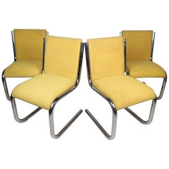 Midcentury Chrome Cantilevered Chairs, Set of 4