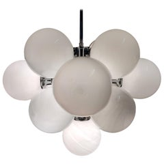 Midcentury Chrome Chandelier with Opaline Spheres, 1970s