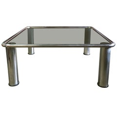 Midcentury Chrome Coffee Table by Gianfranco Frattini for Cassina
