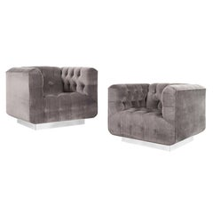"""Midcentury Chrome """"Cube"""" Lounge Chairs by George Kasparian"""
