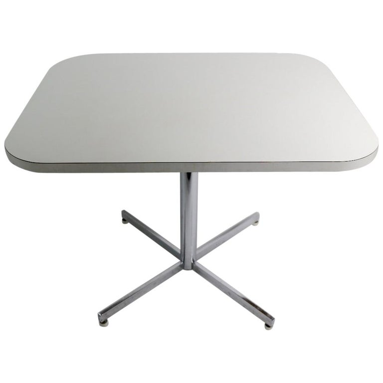Mid Century Chrome Formica Dining Cafe Kitchen Table Attributed to Chromecraft For Sale