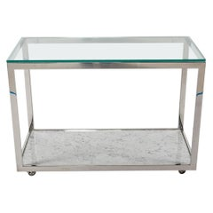 Midcentury Chrome Glass and Marble Bar Cart