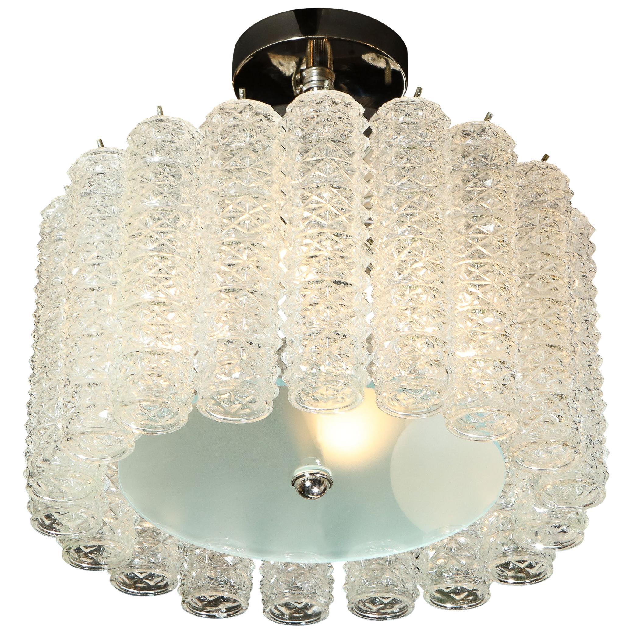 Midcentury Chrome, Hand Blown Translucent and Frosted Murano Glass Chandelier