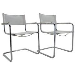 Midcentury Chrome Leather Armchairs