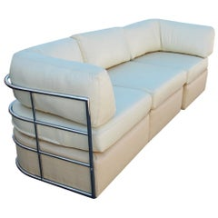 Midcentury Chrome Milo Baughman Three-Piece Sectional