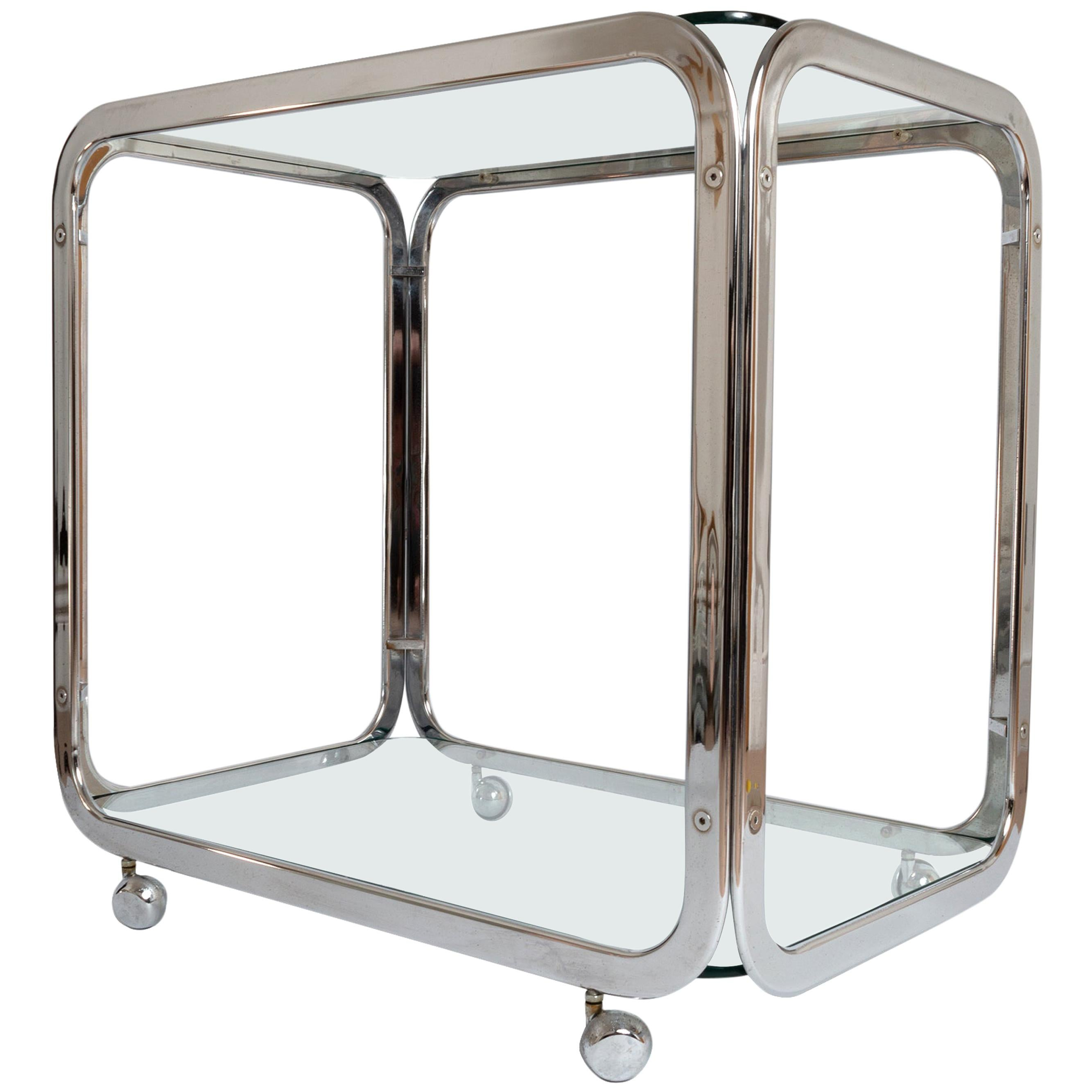 Midcentury Chrome-Plated Bar Cart Drinks Trolley, Italy, circa 1970
