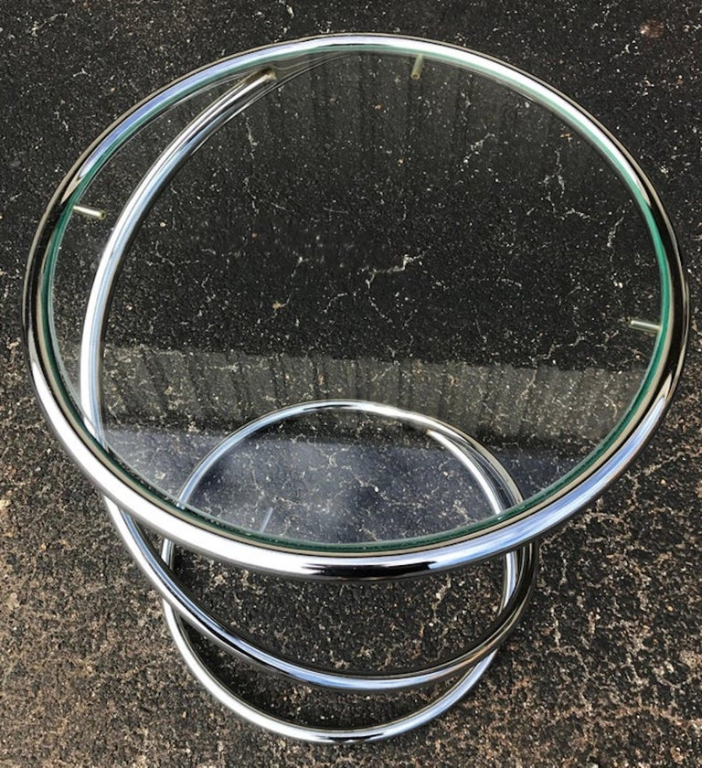 Polished Midcentury Chrome Spring Table, by Pace For Sale