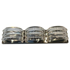 Midcentury Chrome & Stacked Lucite Three- Light Wall Sconce