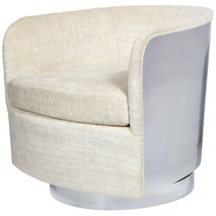 Midcentury Chrome Wrapped Swivel Club Chair in Cream Boucle by Milo Baughman