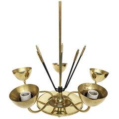 Midcentury Chromed Brass Chandelier in the Manner of Stilnovo