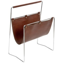 Midcentury Chromed Steel and Leather French Magazine Rack After Adnet, 1970s