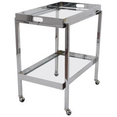 Midcentury Chromed Steel and Smoked Glass Bar Cart with Service Tray Italy 1970s