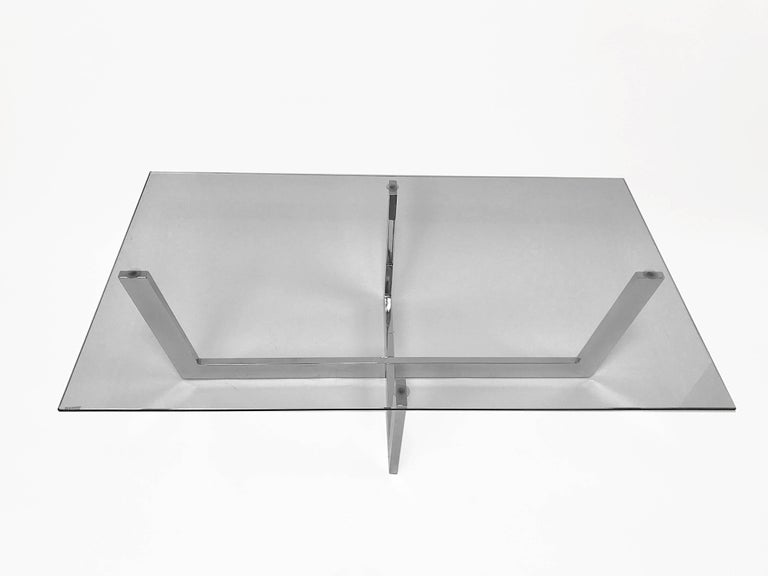 Late 20th Century Midcentury Chromed Steel Italian Coffee Table with Crystal Glass Top, 1970s For Sale