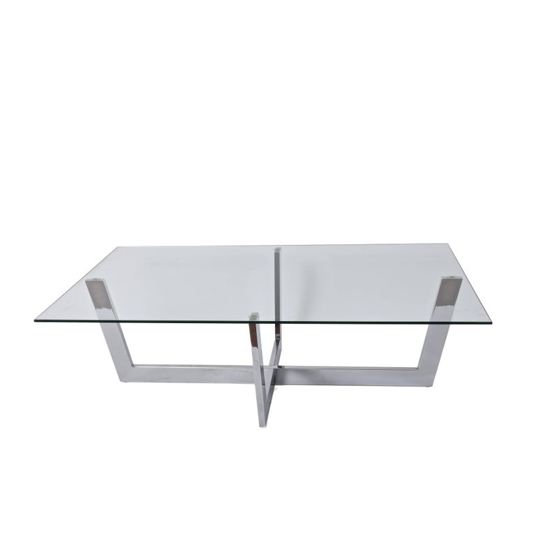 Midcentury Chromed Steel Italian Coffee Table with Crystal Glass Top, 1970s For Sale 1