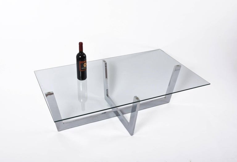 Midcentury Chromed Steel Italian Coffee Table with Crystal Glass Top, 1970s For Sale 2