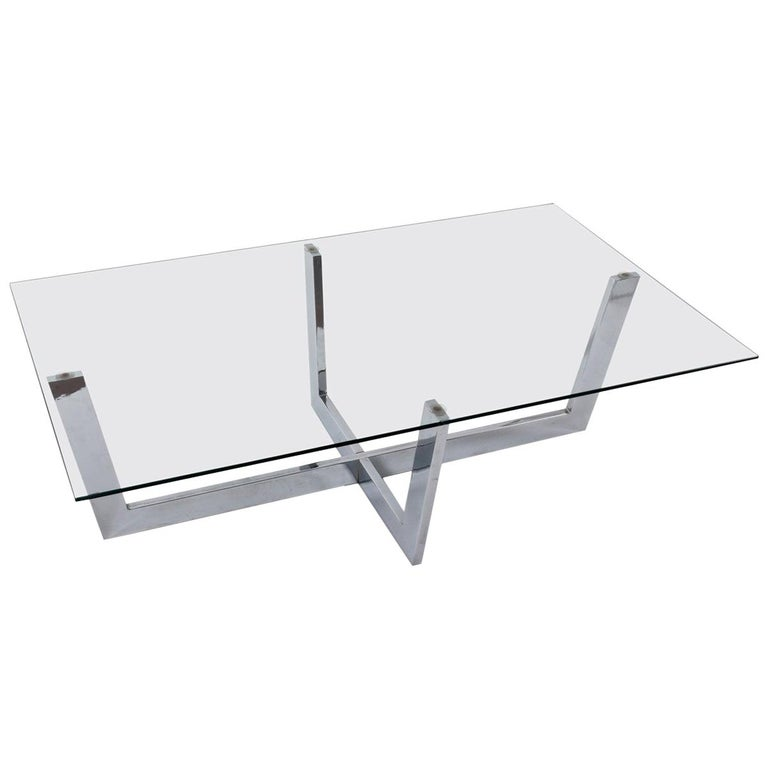 Midcentury Chromed Steel Italian Coffee Table with Crystal Glass Top, 1970s For Sale