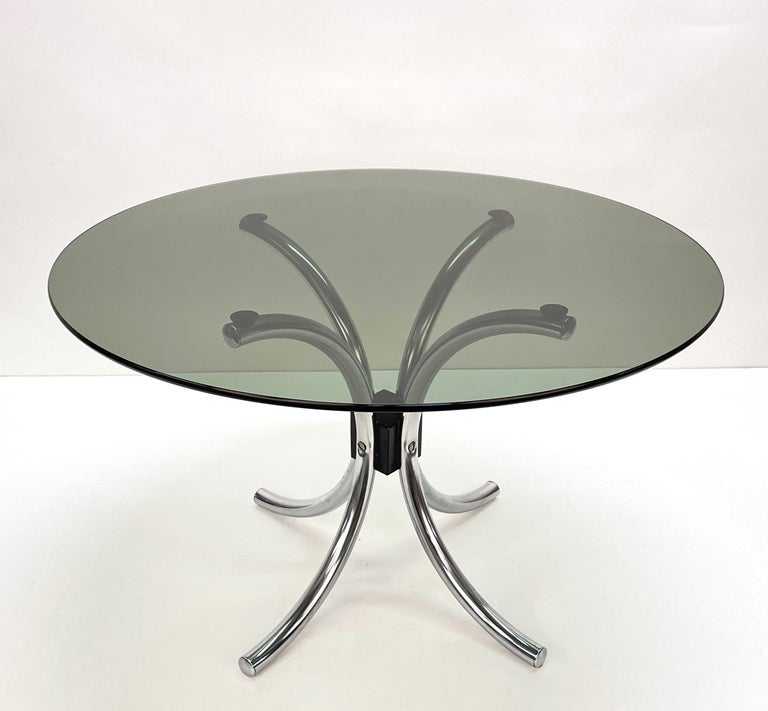 Mid-Century Modern Midcentury Chromed Steel Italian Coffee Table with Smoked Glass Round Top, 1960s For Sale