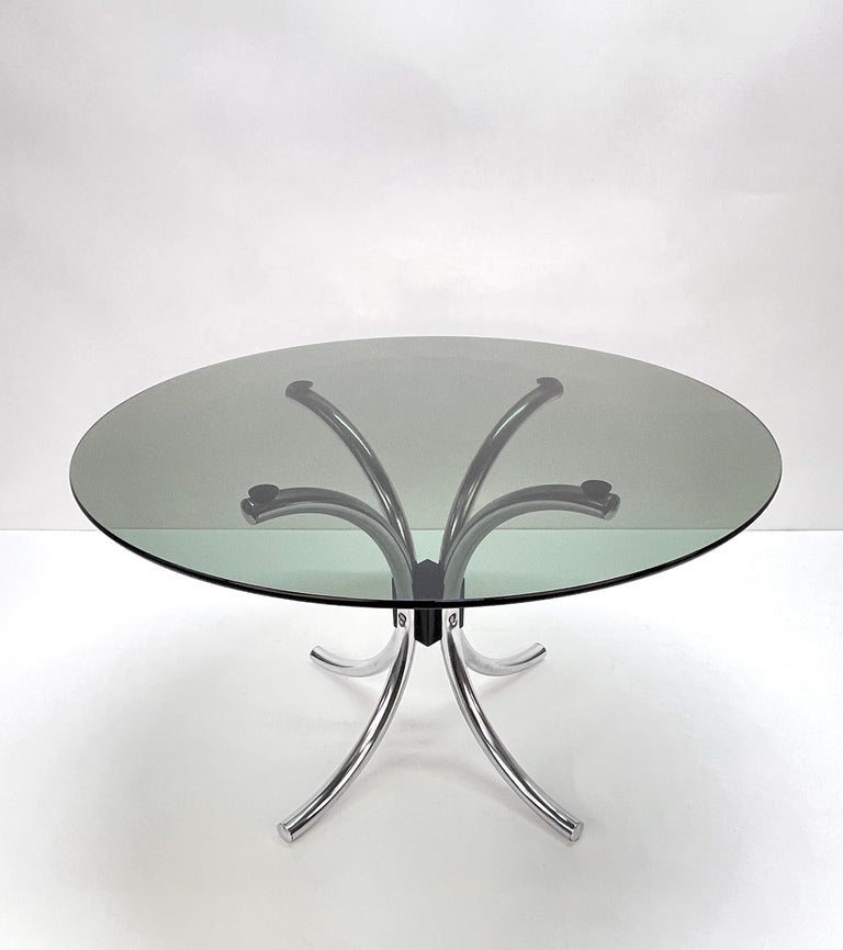 Late 20th Century Midcentury Chromed Steel Italian Coffee Table with Smoked Glass Round Top, 1960s For Sale