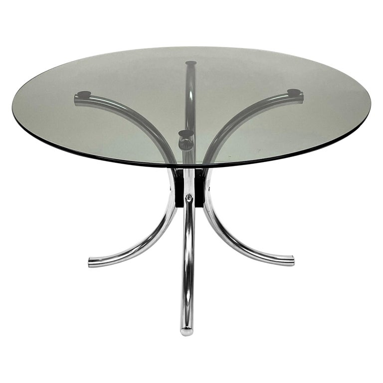 Midcentury Chromed Steel Italian Coffee Table with Smoked Glass Round Top, 1960s For Sale