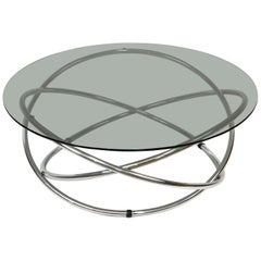 Midcentury Chromed Steel Italian Coffee Table with Smoked Glass Top, 1960s
