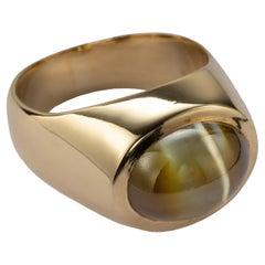Midcentury Chrysoberyl Cat's Eye Ring 12.5 Carat Certified
