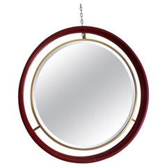 Midcentury Circle Red Wood Brass Italian Vintage Mirror, 1960