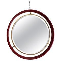 Midcentury Circle Red Wood Brass Italian Vintage Mirror, 1960