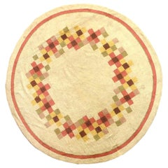 Midcentury Circular Art Deco Cream & Dusty Rose Handmade Wool Rug