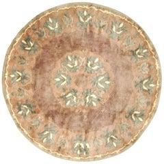 Midcentury Circular Brown and Green Handmade Wool Rug by Paule Leleu