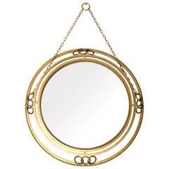 Midcentury Circular Gilt Brass Mirror, France, circa 1950