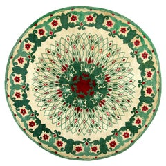 Midcentury Circular Green, White and Red Handwoven Wool Rug by Paule Leleu
