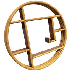 Mid-Century Circular Rattan Wall Hanging Shelf with Asymmetric Shelves
