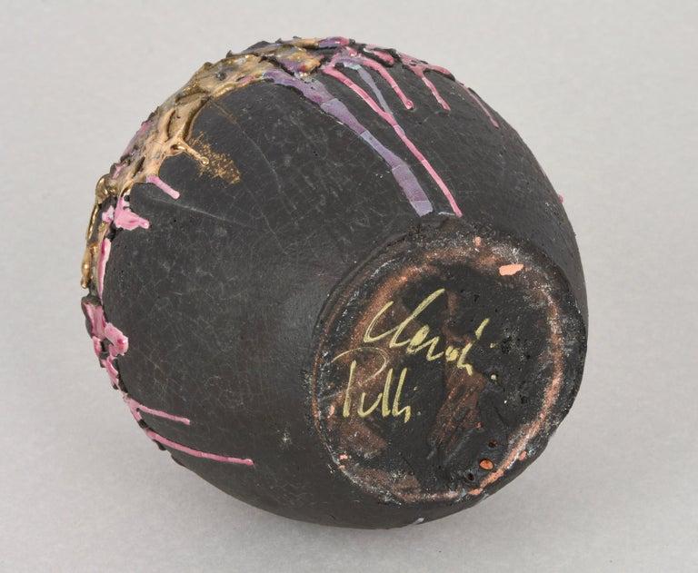 Midcentury Claudio Pulli Polychromed Enameled Ceramic Italian Vase, 1970s 14