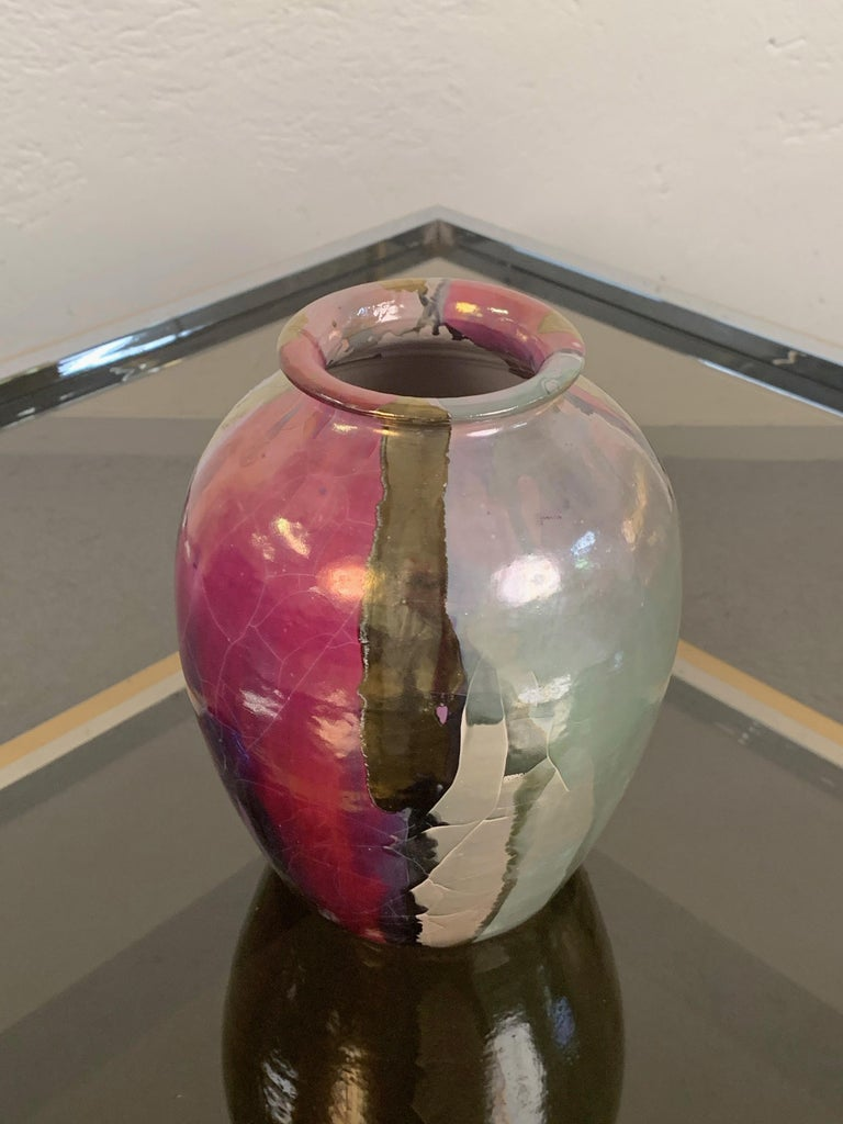 Mid-Century Modern Midcentury Claudio Pulli Polychromed Enameled Ceramic Italian Vase, 1970s For Sale