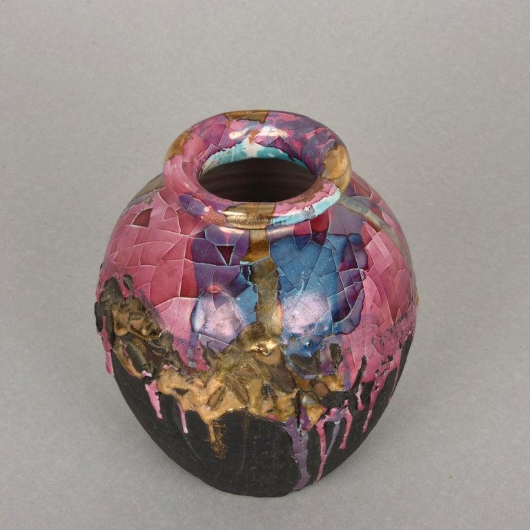 Mid-Century Modern Midcentury Claudio Pulli Polychromed Enameled Ceramic Italian Vase, 1970s