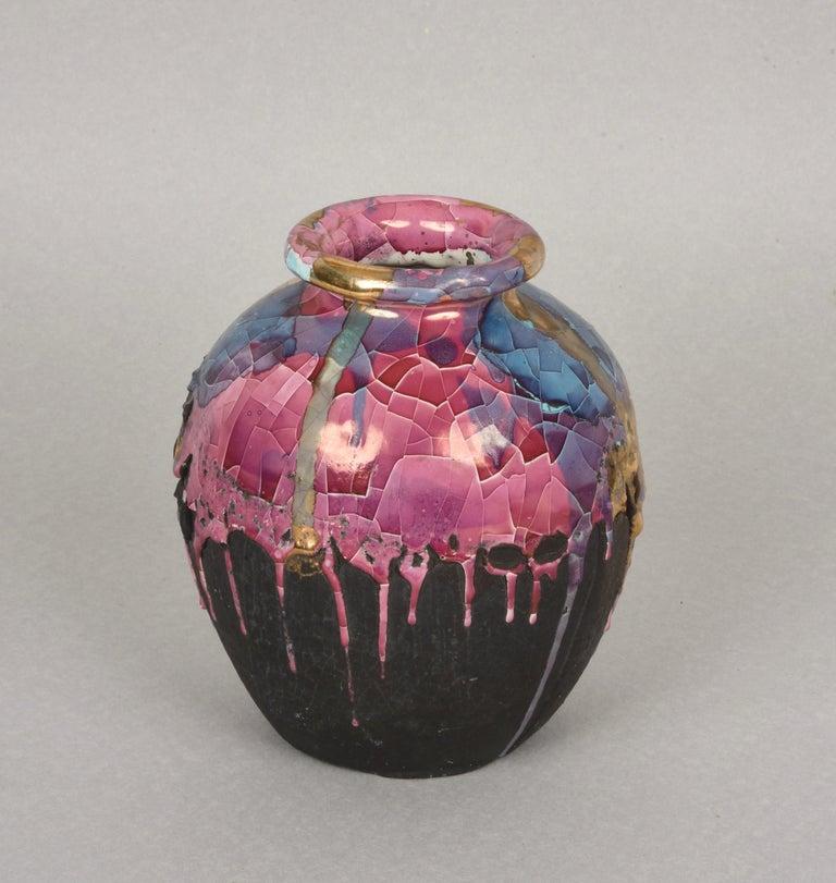 Midcentury Claudio Pulli Polychromed Enameled Ceramic Italian Vase, 1970s In Good Condition In Roma, IT