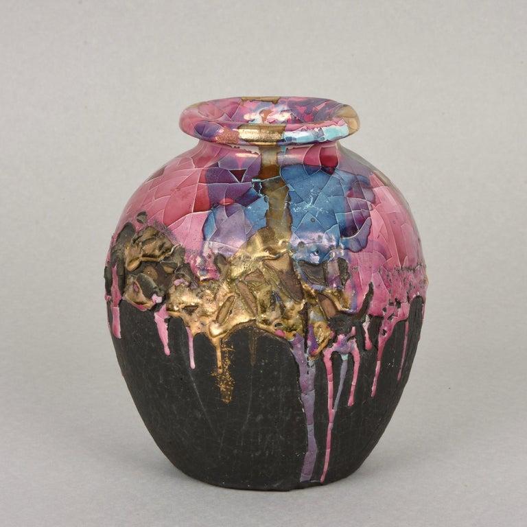 Late 20th Century Midcentury Claudio Pulli Polychromed Enameled Ceramic Italian Vase, 1970s
