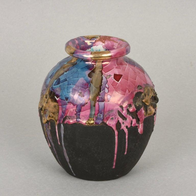 Midcentury Claudio Pulli Polychromed Enameled Ceramic Italian Vase, 1970s 1