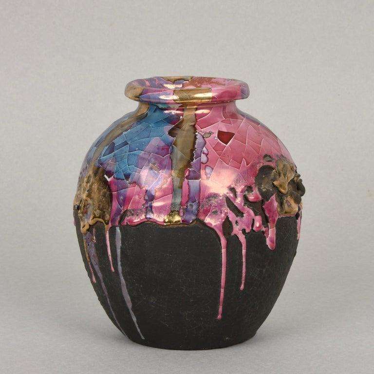 Midcentury Claudio Pulli Polychromed Enameled Ceramic Italian Vase, 1970s 2
