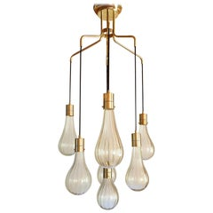 Midcentury Clear and Gold Murano Glass Drops Cascading Chandelier, Italy, 1970s