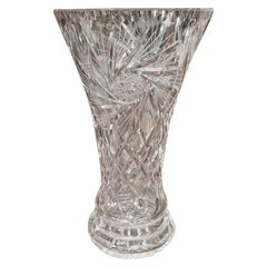 Midcentury Clear Cut Crystal Trumpet Vase with Geometric and Sun Motifs
