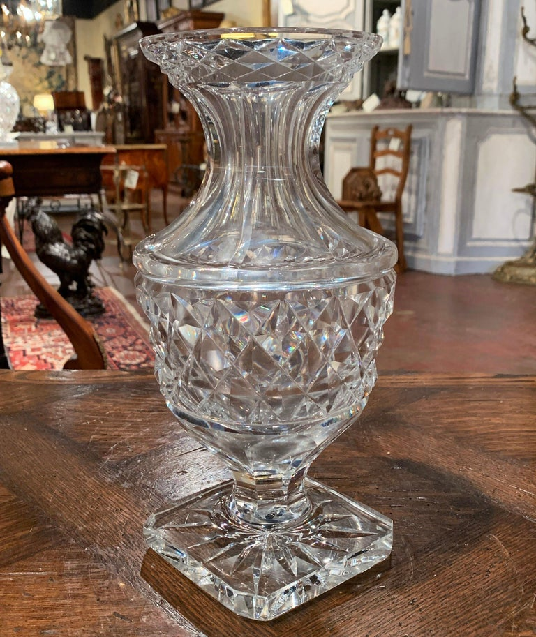 Neoclassical Midcentury Clear Cut-Glass Vase with Geometric Pattern For Sale