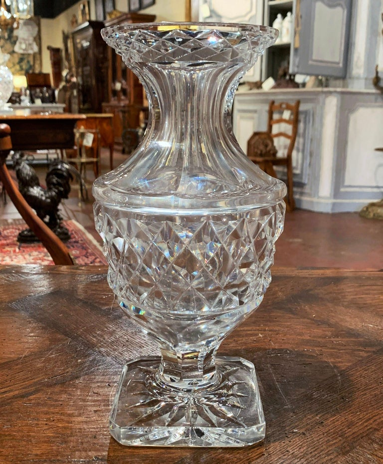 French Midcentury Clear Cut-Glass Vase with Geometric Pattern For Sale