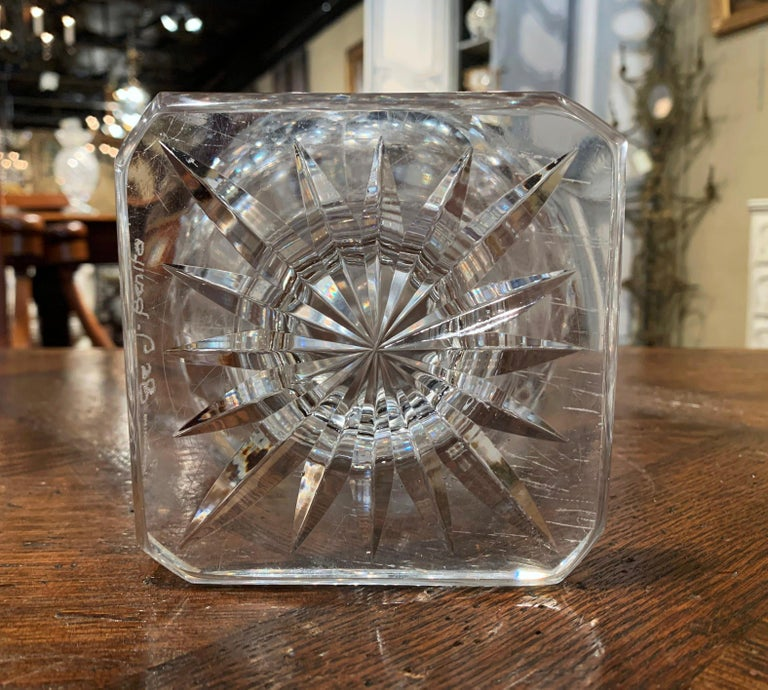 Cut Glass Midcentury Clear Cut-Glass Vase with Geometric Pattern For Sale