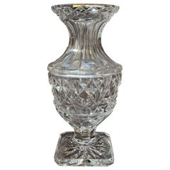Midcentury Clear Cut Glass Vase with Geometric Pattern