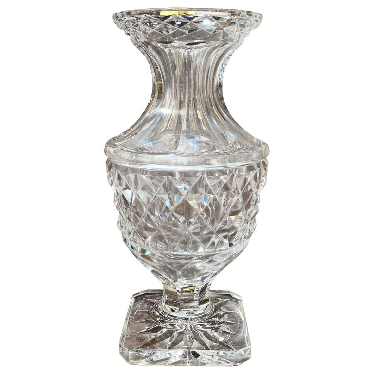 Midcentury Clear Cut-Glass Vase with Geometric Pattern For Sale