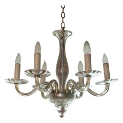 Midcentury Clear Murano Art Glass Chandelier
