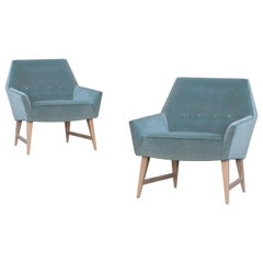 Midcentury Club Chairs in Sea Velvet, Pair