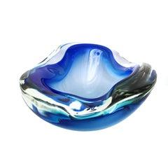 Midcentury Cobalt Blue Biomorphic Blown Murano Art Glass Bowl, 1950s, Italy
