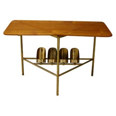Midcentury Coffee Table Attributed to Ignazio Gardella in Brass and Wood, 1950s